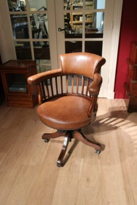 Draaibare Antieke Bureaustoel.Antieke Bureaustoel Antieke Mahonie Bureaustoel Met Lederen Zitting